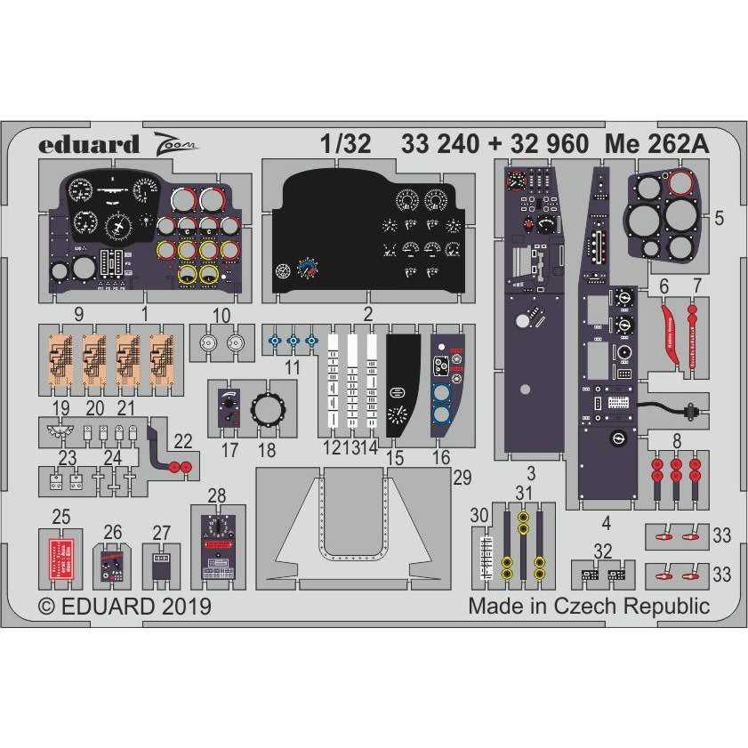 【新製品】33240 塗装済 メッサーシュミット Me262A シュワルベ ズームエッチングパーツ (レベル用)