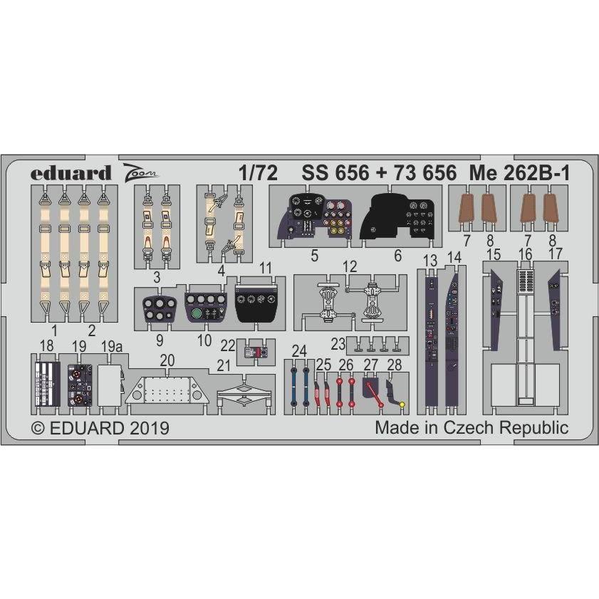 【新製品】SS656 塗装済 メッサーシュミット Me262B-1 ズームエッチングパーツ (エアフィックス用)