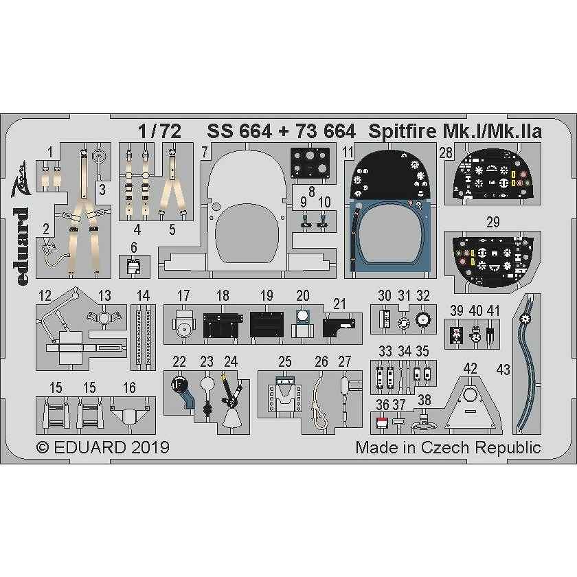 【新製品】SS664 塗装済 スーパーマリン スピットファイア Mk.I/Mk.IIa ズームエッチングパーツ(エアフィックス用)