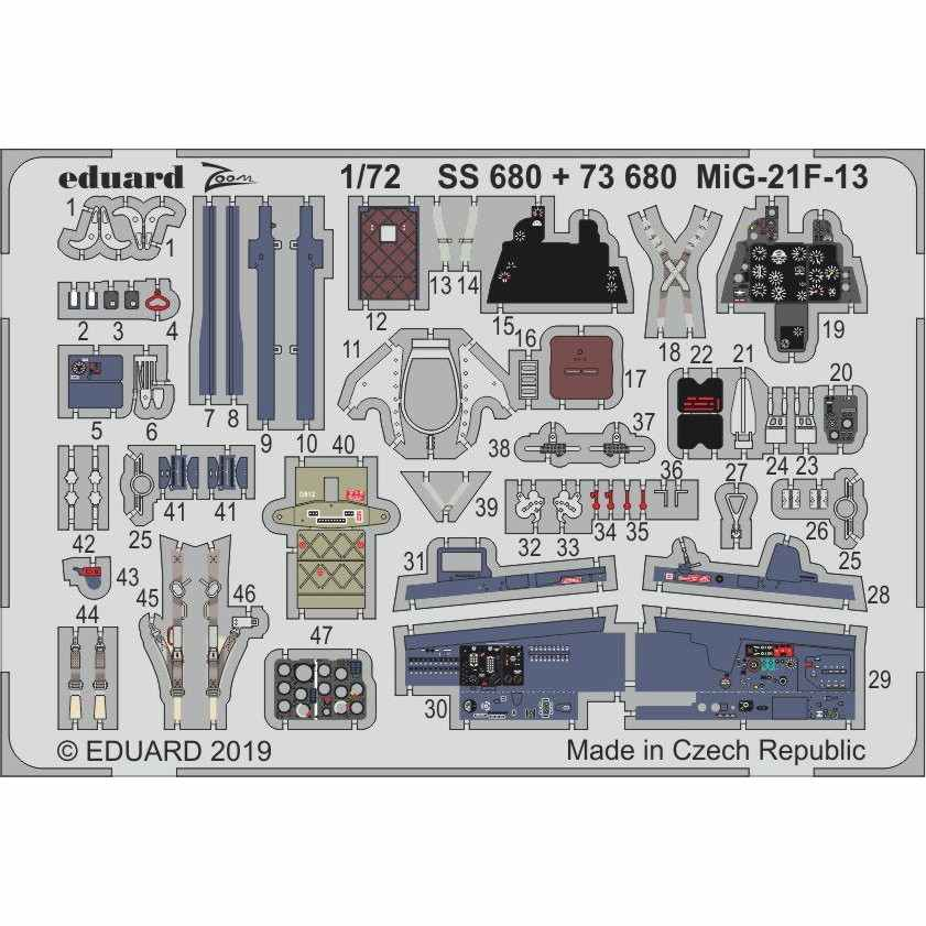 【新製品】SS680 塗装済 MiG-21F-13 フィッシュベッド ズーム エッチングパーツ (モデルズビット用)