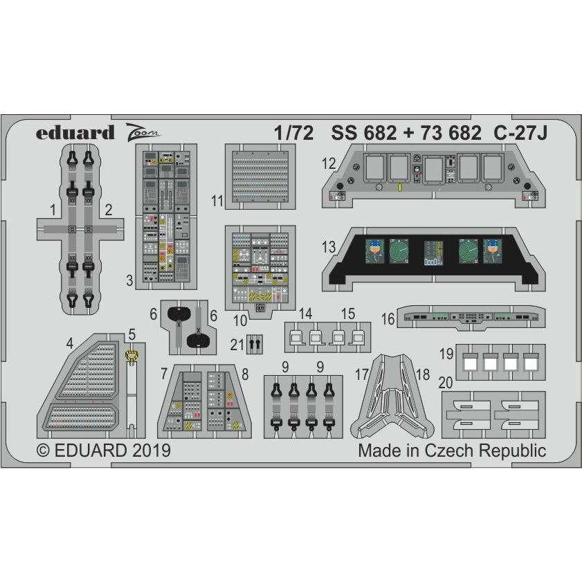 【新製品】SS682 塗装済 アレーニア C-27J スパルタン ズーム エッチングパーツ (イタレリ用)
