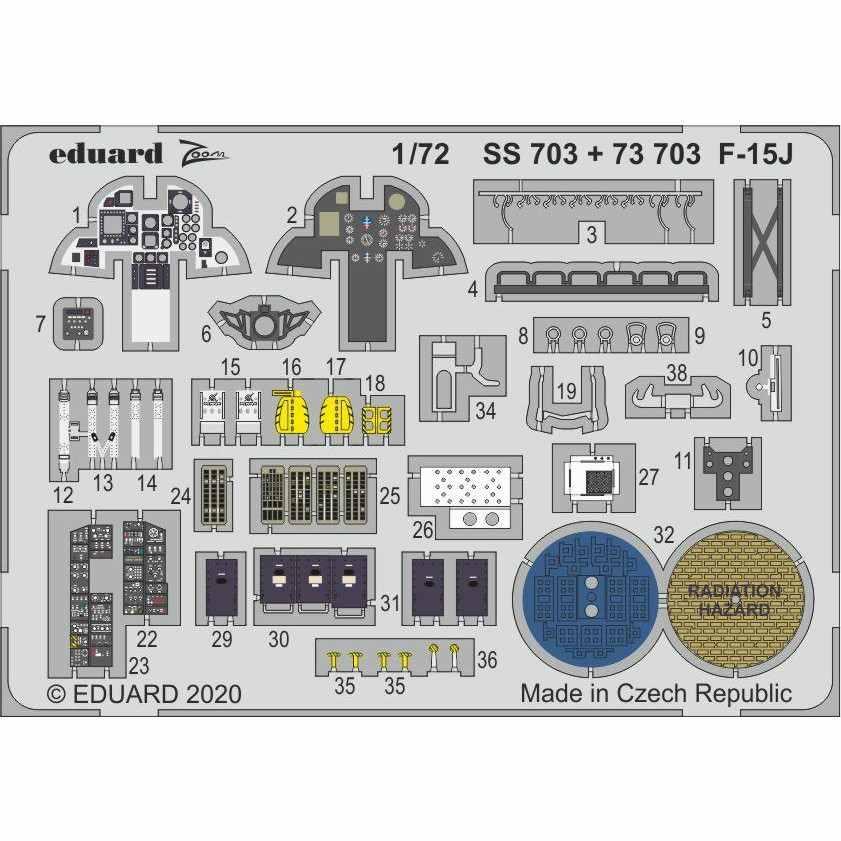 【新製品】SS703 塗装済 マクドネル・ダグラス F-15J イーグル ズームエッチングパーツ (グレートウォール用)