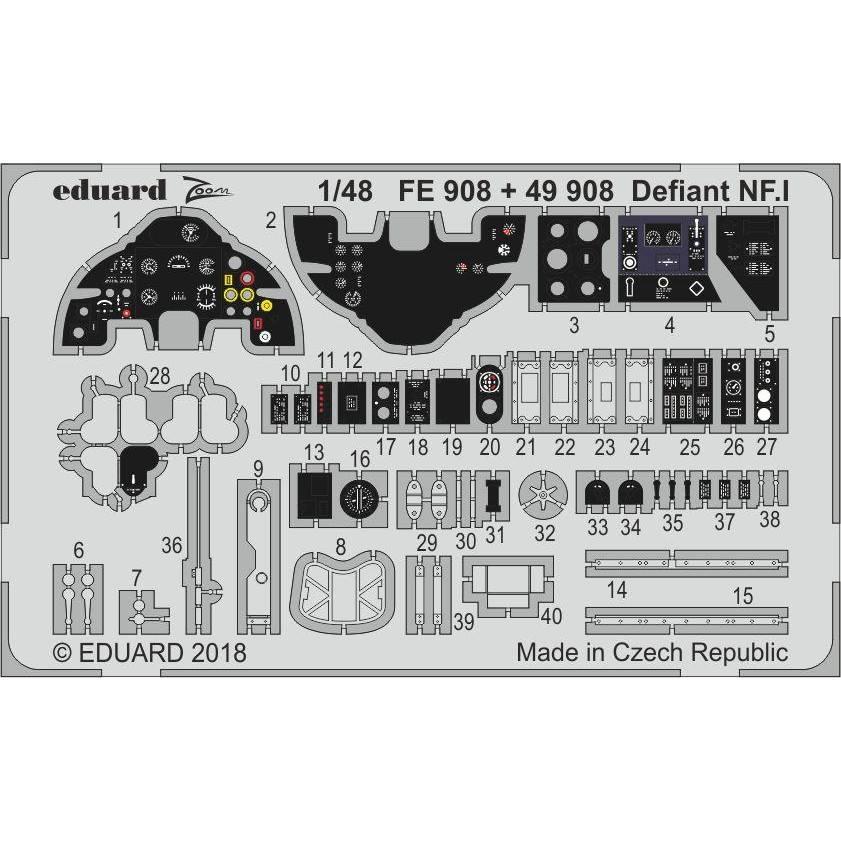 【新製品】FE908 塗装済 ボルトンポール デファイアント NF.I 計器盤