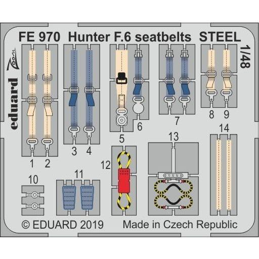 【新製品】FE970 塗装済 ホーカー ハンター F.6 シートベルト (ステンレス製)(エアフィックス用)