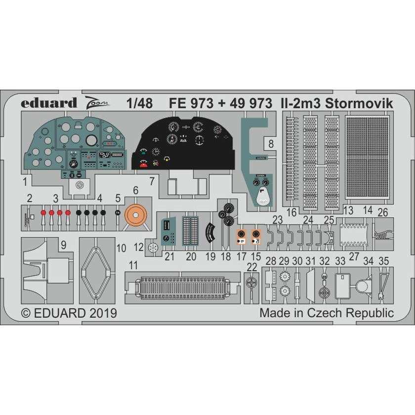 【新製品】FE973 塗装済 イリューシン Il-2m3 シュトルモビク ズームエッチングパーツ(アキュレイトミニチュア用)
