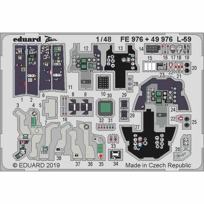 【新製品】FE976 塗装済 アエロ L-59 スーパーアルバトロス ズームエッチングパーツ (トランぺッター用)