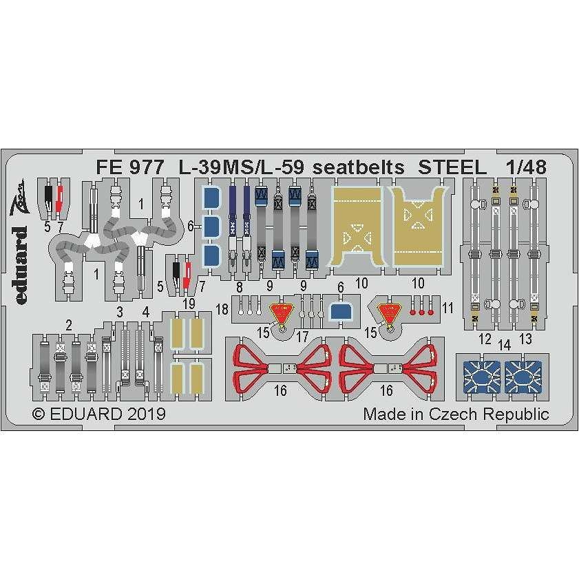 【新製品】FE977 塗装済 アエロ L-39MS/L59 スーパーアルバトロス シートベルト (ステンレス製)(トランぺッター用)