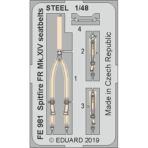 【新製品】FE981 塗装済 スーパーマリン スピットファイア FR Mk.XIV シートベルト (ステンレス製)(エアフィックス用)