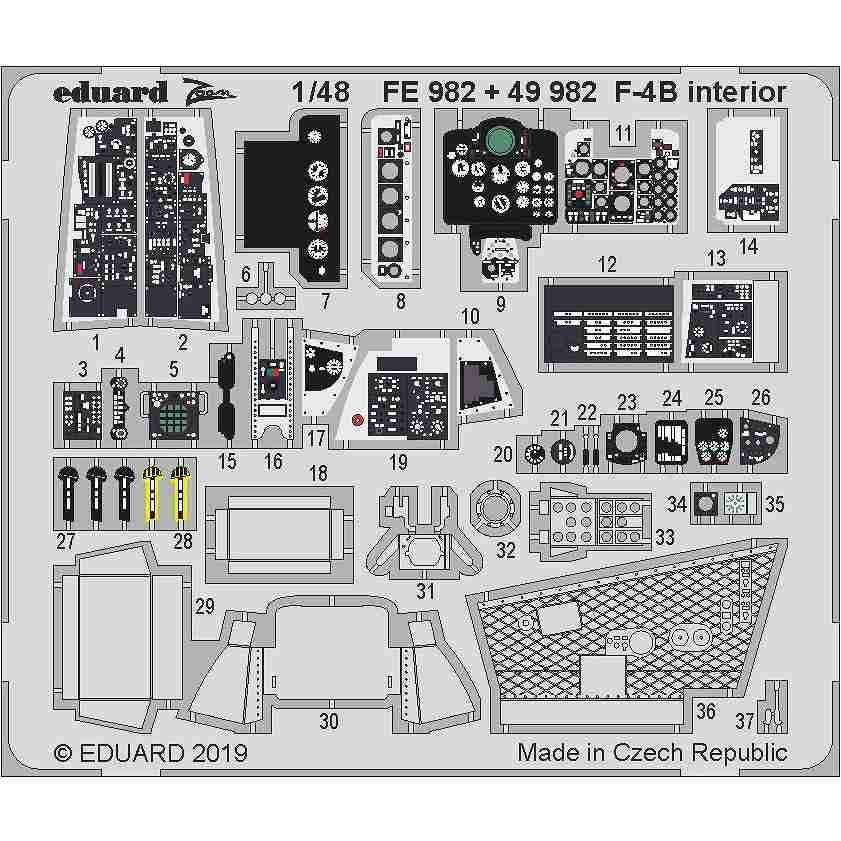 【新製品】FE982 塗装済 マクドネル・ダグラス F-4B ファントムII ズームエッチングパーツ (アカデミー用)