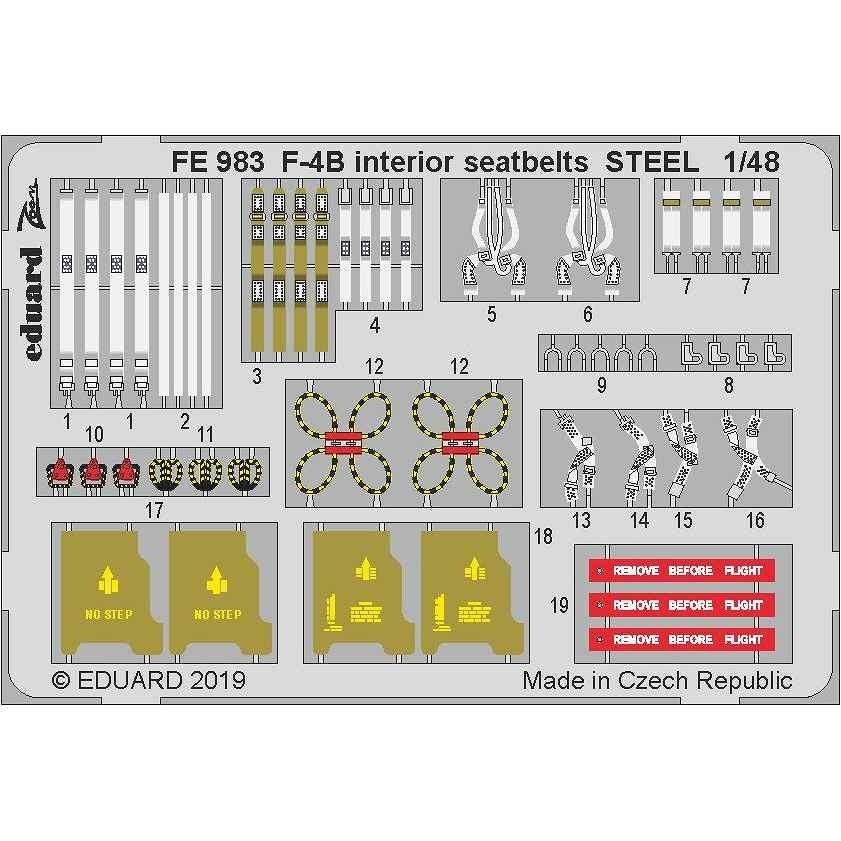 【新製品】FE983 塗装済 マクドネル・ダグラス F-4B ファントムII シートベルト (ステンレス製) (アカデミー用)
