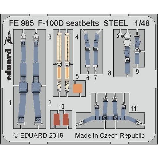 【新製品】FE985 塗装済 ノースアメリカン F-100D スーパーセイバー シートベルト (ステンレス製) (トランぺッター用)