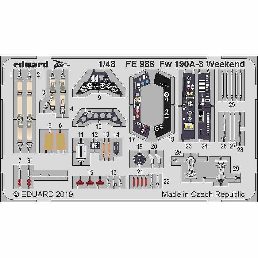 【新製品】FE986 塗装済 フォッケウルフ Fw190A-3 ウィークエンドエディション用ズームエッチングパーツ (エデュアルド用)