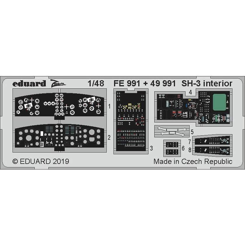 【新製品】FE991 塗装済 SH-3 シーキング ズームエッチングパーツ (ハセガワ用)