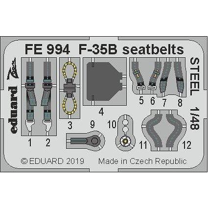 【新製品】FE994 塗装済 F-35B ライトニングII シートベルト (ステンレス製) (キティホーク用)