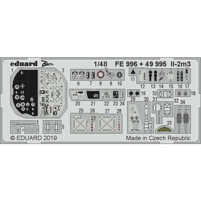 【新製品】FE996 塗装済 イリューシン Il-2m3 ズームエッチングパーツ (タミヤ用)