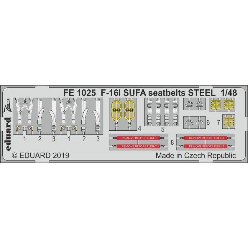【新製品】FE1025 塗装済 F-16I スーファ シートベルト (ステンレス製) (ハセガワ用)