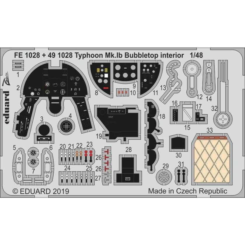 【新製品】FE1028 塗装済 ホーカー タイフーン Mk.Ib バブルトップ ズームエッチングパーツ (ハセガワ/イタレリ用)