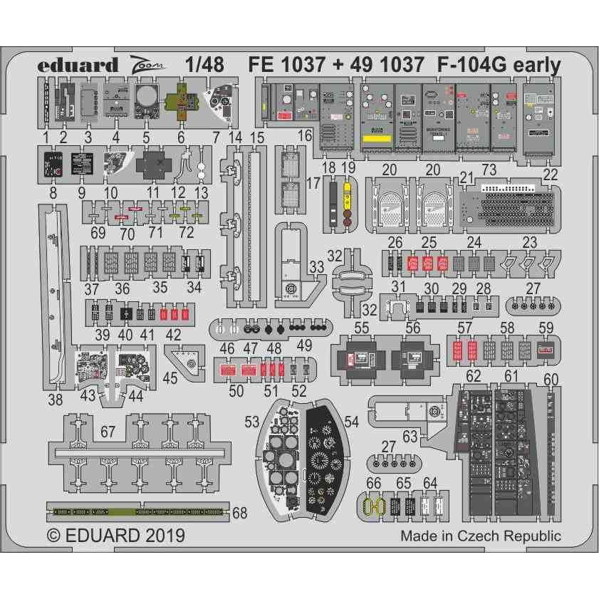 【新製品】FE1037 塗装済 ロッキード F-104G スターファイター (初期型) ズームエッチングパーツ (キネティック用)