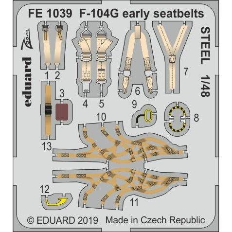 【新製品】FE1039 塗装済 ロッキード F-104G スターファイター (初期型) シートベルト (ステンレス製) (キネティック用)