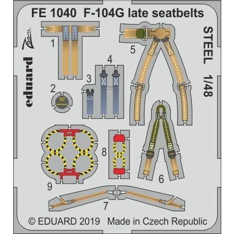 【新製品】FE1040 塗装済 ロッキード F-104G スターファイター (後期型) シートベルト (ステンレス製) (キネティック用)