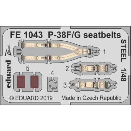 【新製品】FE1043 塗装済 ロッキード P-38F/G ライトニング シートベルト (ステンレス製) (タミヤ用)