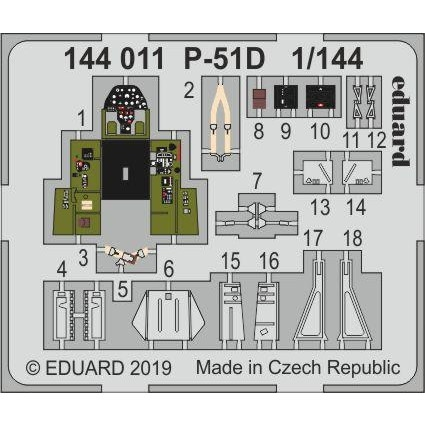 【新製品】144011 塗装済 ノースアメリカン P-51D マスタング エッチングパーツ (プラッツ/エデュアルド用)
