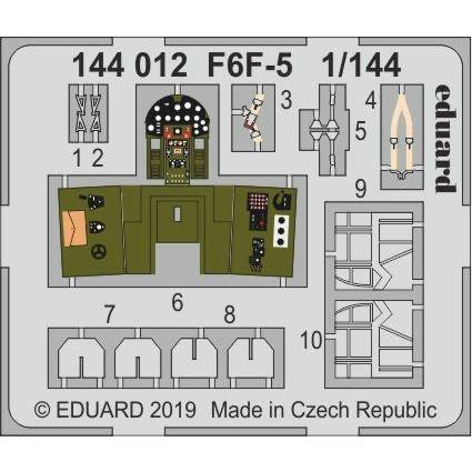 【新製品】144012 塗装済 グラマン F6F-5 ヘルキャット エッチングパーツ (プラッツ/エデュアルド用)