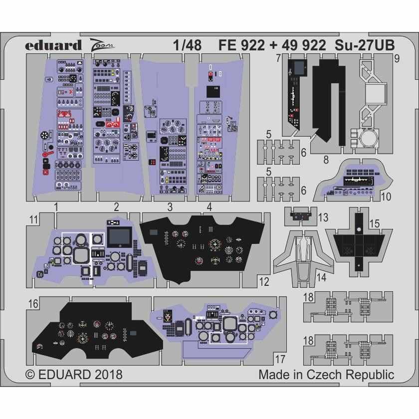 【新製品】49922 塗装済 スホーイ Su-27UB フランカー 内装