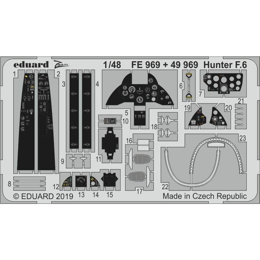 【新製品】49969 塗装済 ホーカー ハンター F.6 エッチングパーツ (エアフィックス用)