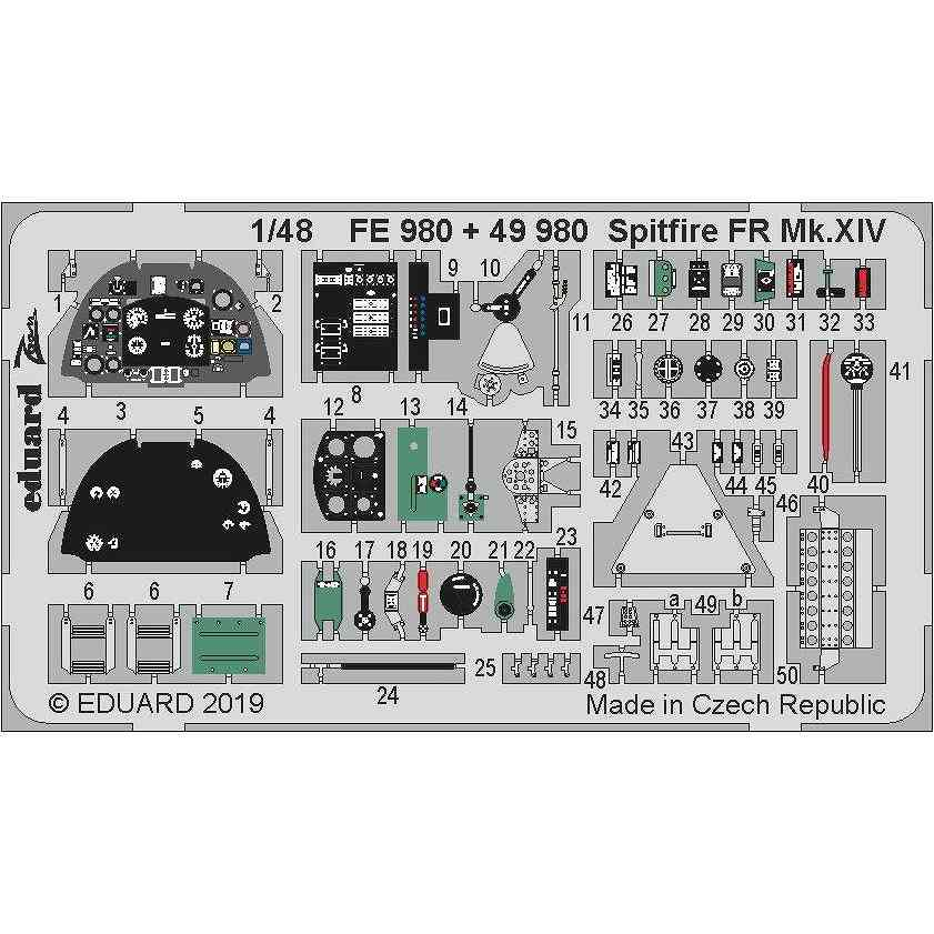 【新製品】49980 塗装済 スーパーマリン スピットファイア FR Mk.XIV エッチングパーツ(エアフィックス用)