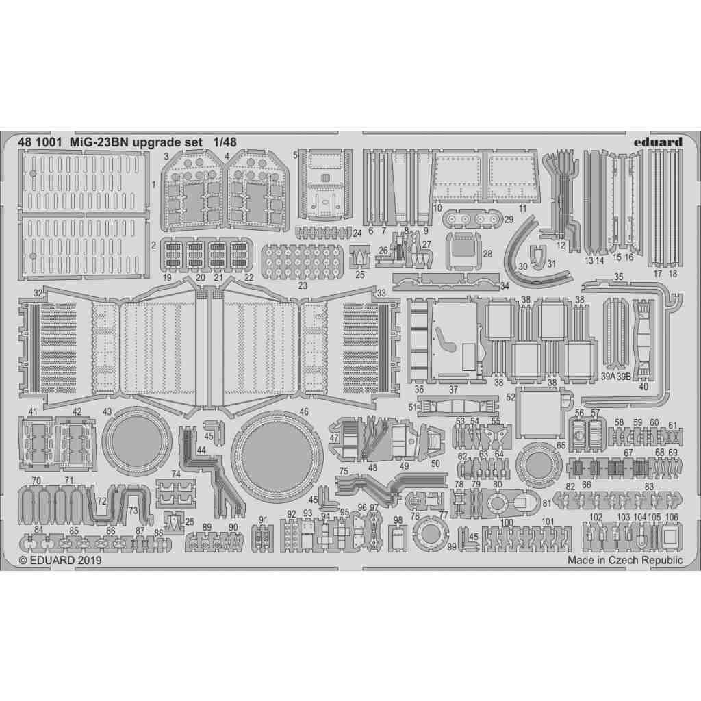 【新製品】481001 ミグ MiG-23BN フロッガー アップグレードエッチングパーツ (エデュアルド/トランぺッター用)