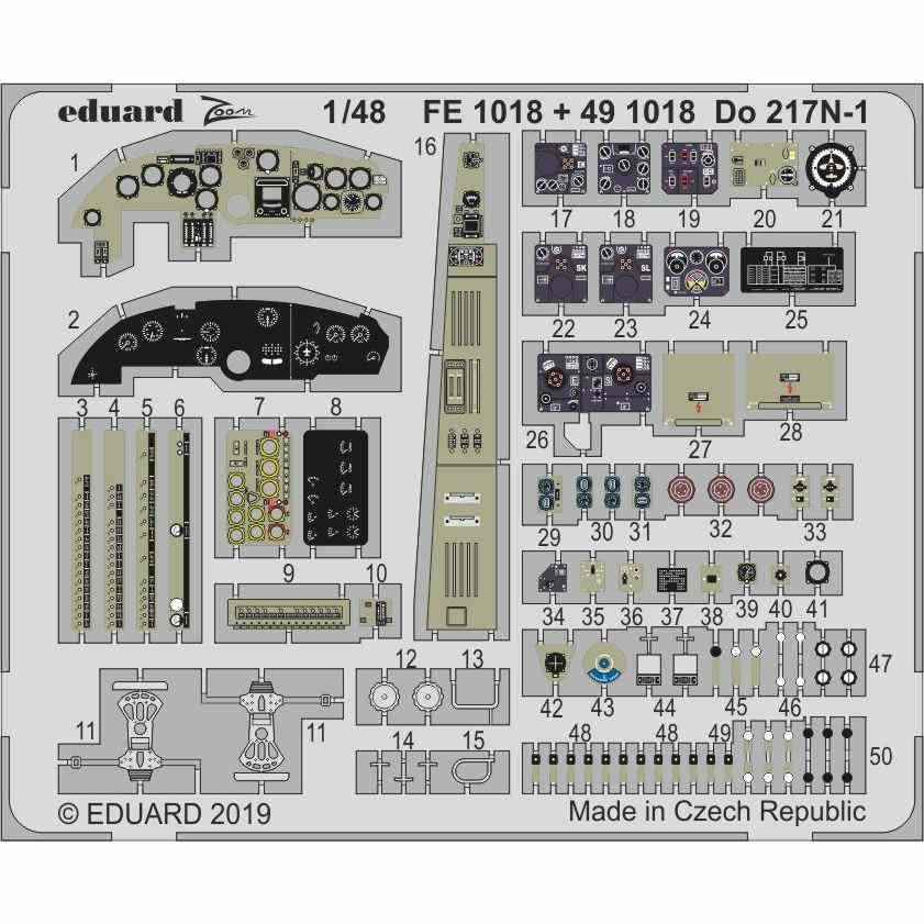 【新製品】491018 塗装済 ドルニエ Do217N-1 エッチングパーツ (ICM用)