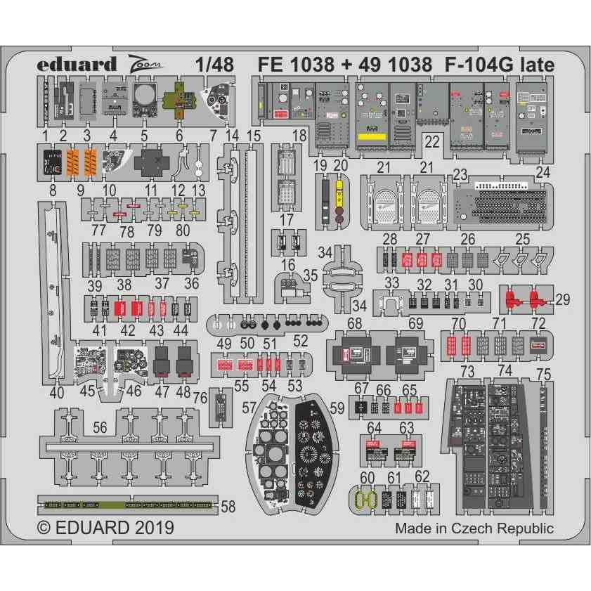 【新製品】491038 塗装済 ロッキード F-104G スターファイター (後期型) エッチングパーツ (キネティック用)