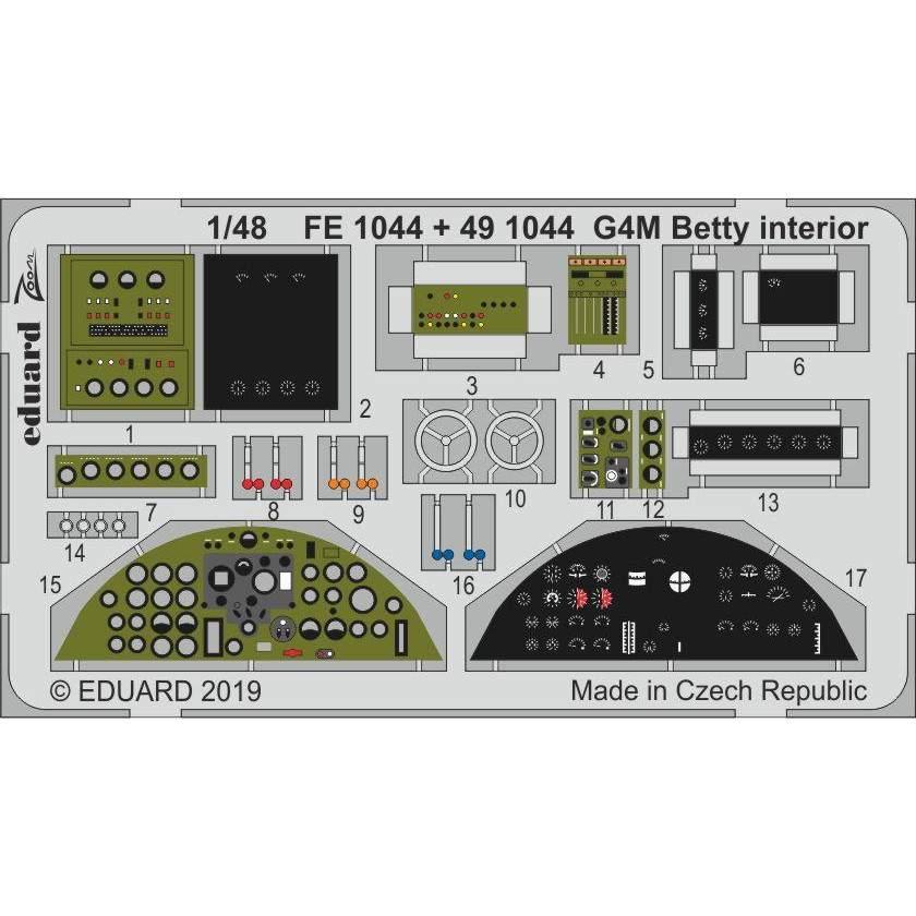 【新製品】491044 塗装済 三菱 G4M1 一式陸上攻撃機 一一型 内装エッチングパーツ (タミヤ用)