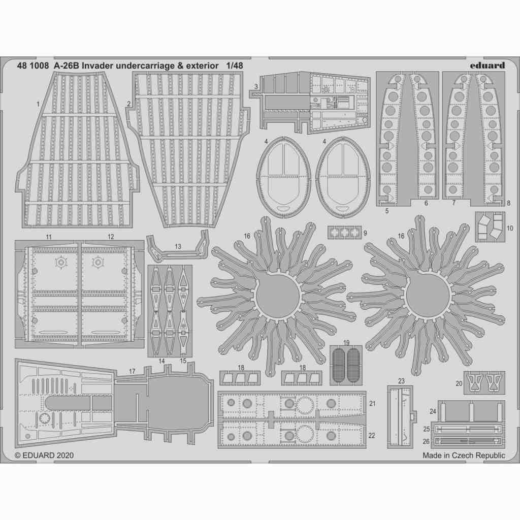【新製品】481008 ダグラス A-26B インベーダー 外装エッチングパーツ (ICM用)