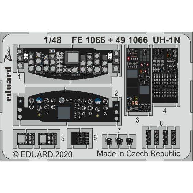 【新製品】FE1066 塗装済 UH-1N ズームエッチングパーツ (キティーホーク用)