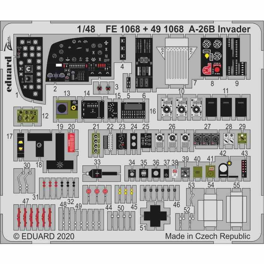 【新製品】FE1068 塗装済 ダグラス A-26B インベーダー ズームエッチングパーツ (ICM用)
