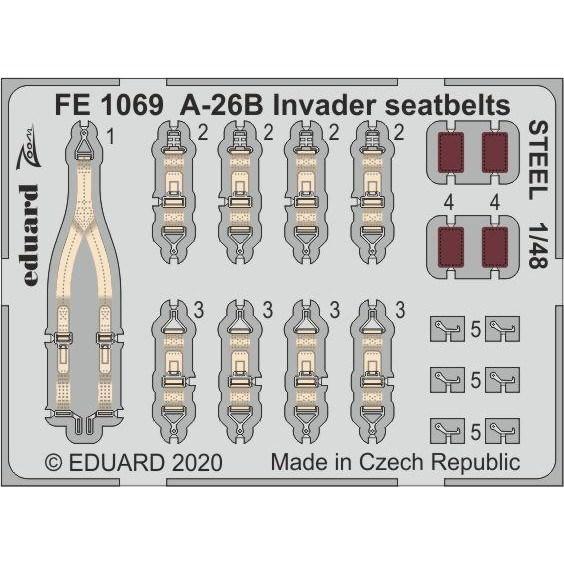 【新製品】FE1069 塗装済 ダグラス A-26B インベーダー シートベルト (ステンレス製) (ICM用)