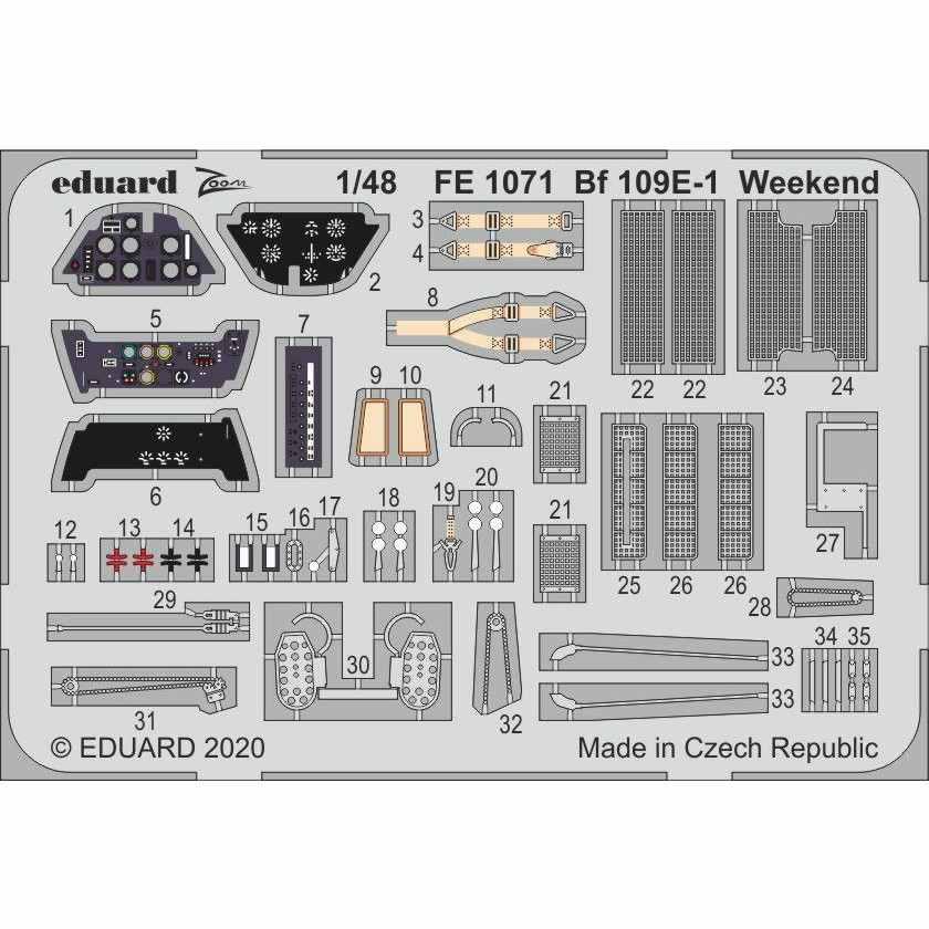 【新製品】FE1071 メッサーシュミット Bf109E-1 ウィークエンドエディション ズームエッチングパーツ (エデュアルド用)