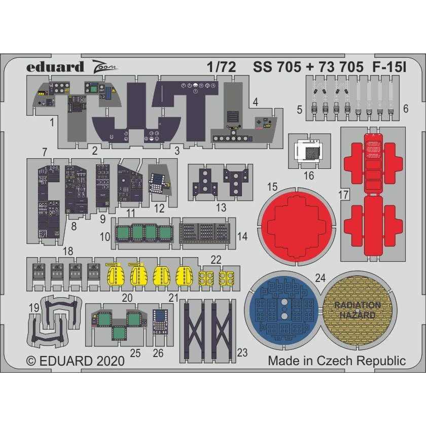 【新製品】73705 塗装済 F-15I エッチングパーツ (グレートウォール用)