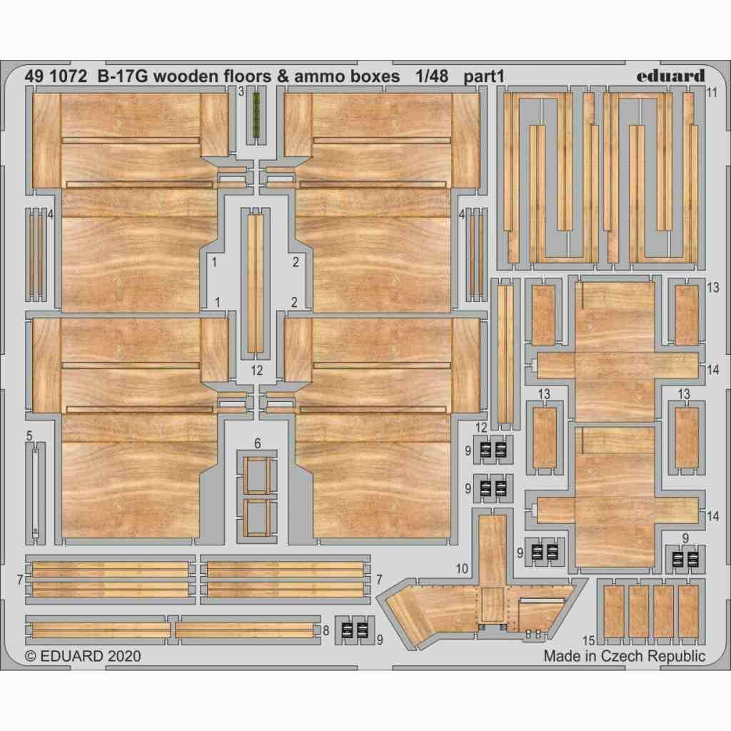 【新製品】491072 ボーイング B-17G フライングフォートレス 木製床&弾薬箱 エッチングパーツ (HKモデル用)
