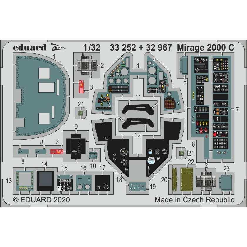 【新製品】33252 塗装済 ダッソー ミラージュ2000C ズームエッチングパーツ(キティーホーク用)