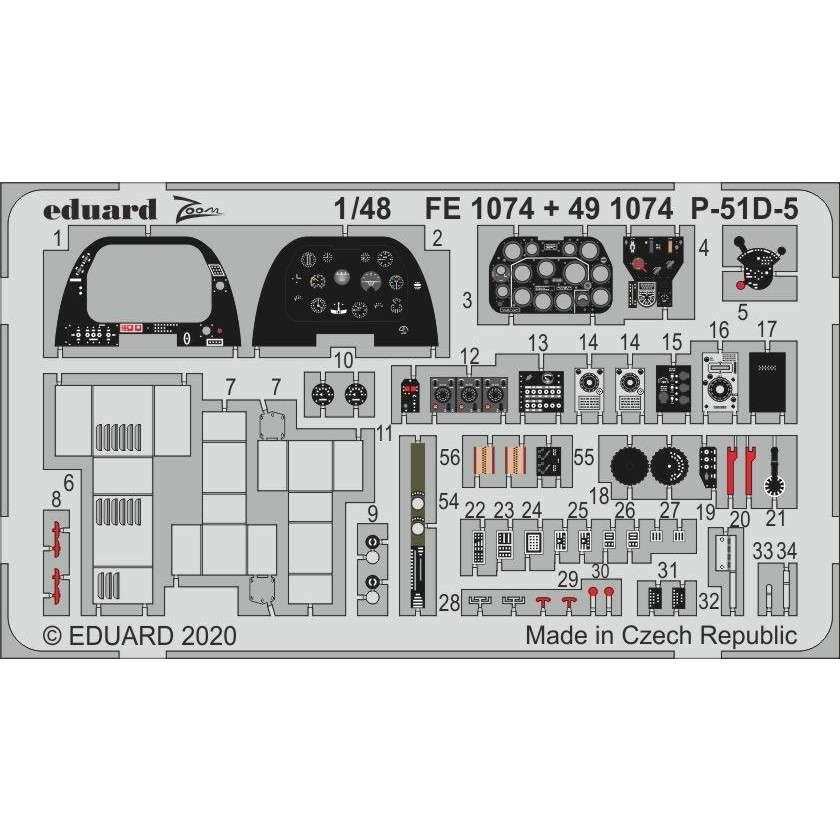 【新製品】FE1074 塗装済 ノースアメリカン P-51D-5 マスタング ズームエッチングパーツ (エアフィックス用)