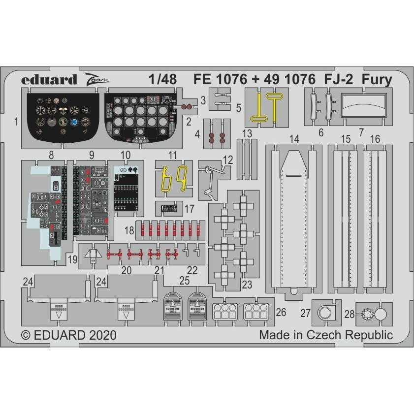 【新製品】FE1076 塗装済 ノースアメリカン FJ-2 フューリー ズームエッチングパーツ(キティーホーク用)