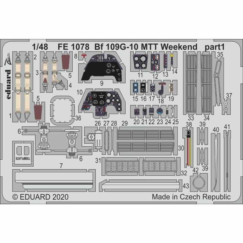 【新製品】FE1078 塗装済 メッサーシュミット Bf109G-10 MTT ズームエッチングパーツ(エデュアルド用)