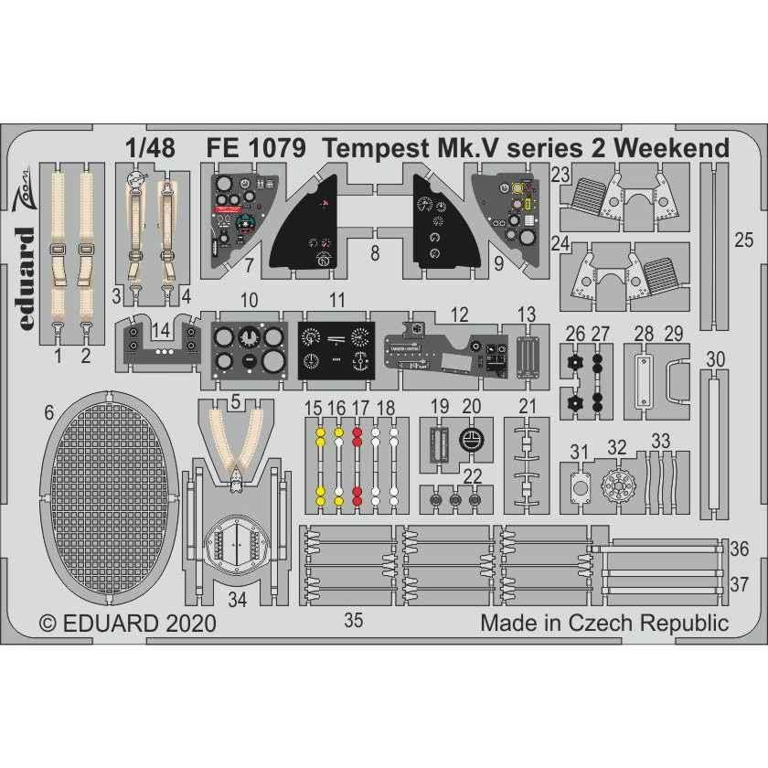 【新製品】FE1079 塗装済 ホーカー テンペスト Mk.V シリーズ2 ズームエッチングパーツ(エデュアルド用)
