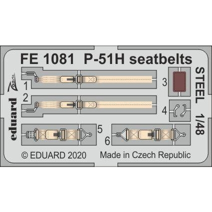 【新製品】FE1081 塗装済 ノースアメリカン P-51H マスタング シートベルト (ステンレス製) (モデルズビット用)