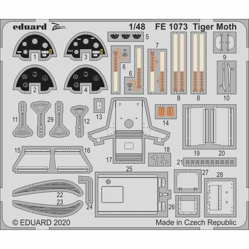 【新製品】FE1073 塗装済 デ・ハビランド タイガーモス ズームエッチングパーツ (エアフィックス用)