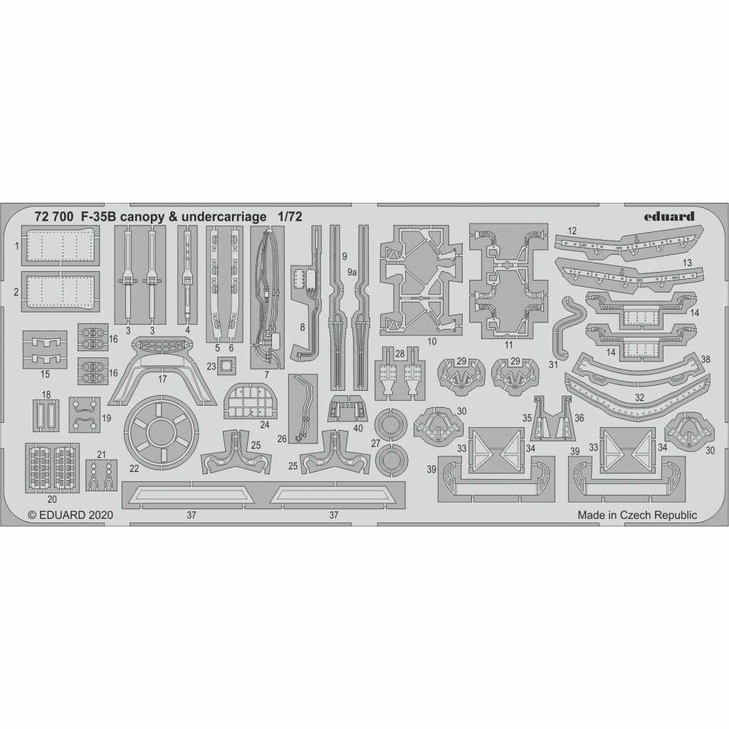 【新製品】72700 F-35B ライトニングII キャノピー & 着陸装置 エッチングパーツ(イタレリ用)