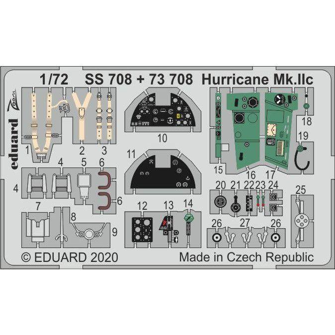【新製品】73708 塗装済 ホーカー ハリケーン Mk.IIC エッチングパーツ(アルマホビー用)